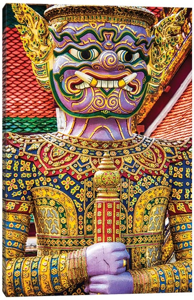 Thailand, Bangkok, Yaksha at Wat Phra Kaeo The Grand Palace Canvas Art Print