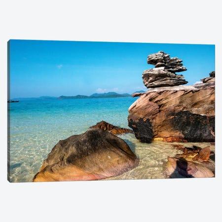 Thailand, Phuket, Phi Phi Islands, Rock display at Island Beach Canvas Print #TEG18} by Terry Eggers Canvas Art Print