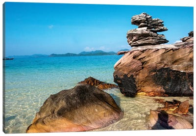 Thailand, Phuket, Phi Phi Islands, Rock display at Island Beach Canvas Art Print