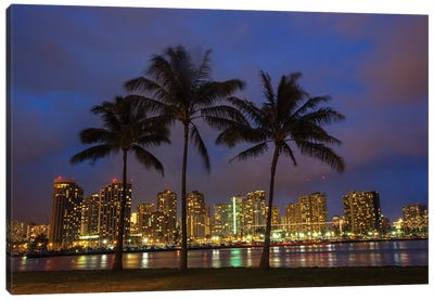 USA, Hawaii, Honolulu, Palm Trees with the night lights of Honolulu Canvas Art Print
