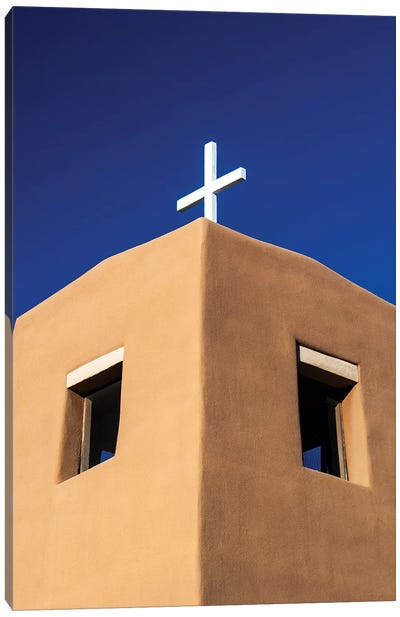 USA, New Mexico, Exterior facade of Sacred Heart Church in Nambe New Mexico Canvas Art Print