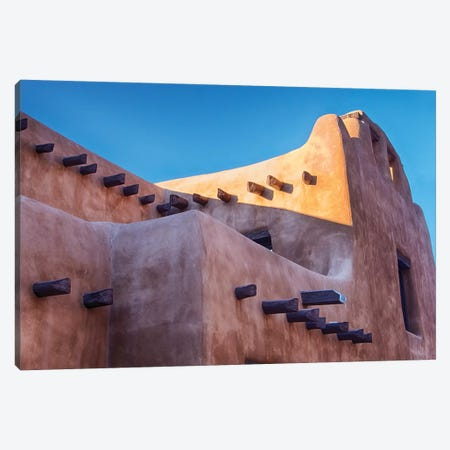 USA, New Mexico, Sant Fe, Adobe structure with protruding vigas and Snow Canvas Print #TEG22} by Terry Eggers Canvas Wall Art