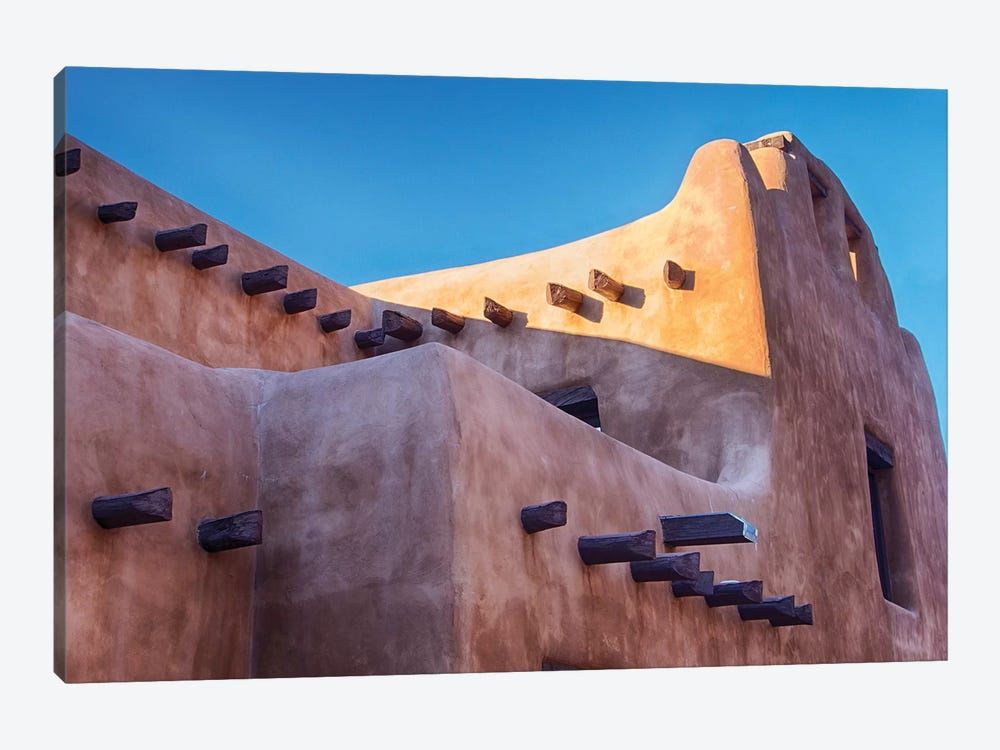 USA, New Mexico, Sant Fe, Adobe structure with protruding vigas and Snow by Terry Eggers 1-piece Art Print