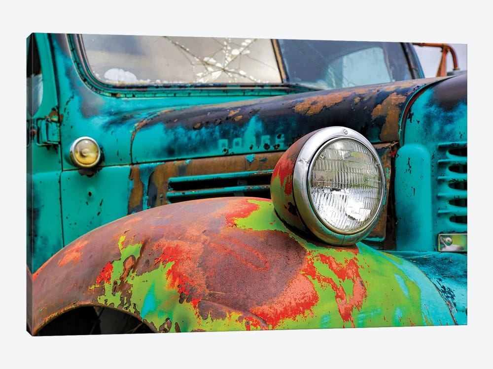 USA, Washington State, Old Colorful Field Truck in field 1-piece Canvas Art Print