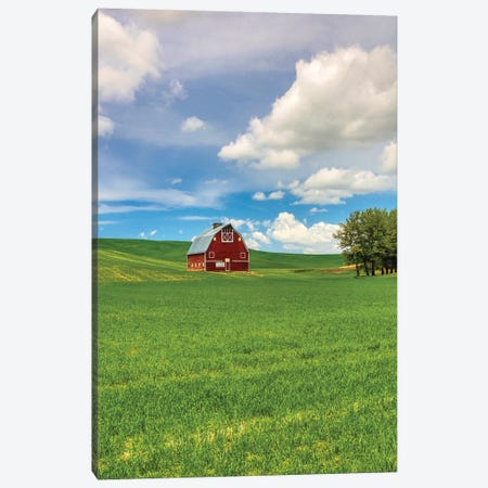 USA, Washington State, Red Barn in Spring Canvas Print #TEG34} by Terry Eggers Canvas Artwork