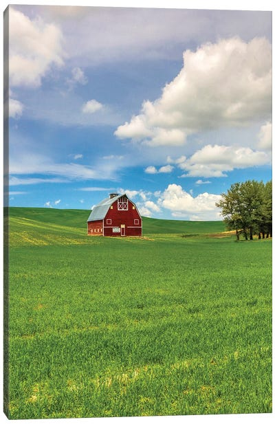 USA, Washington State, Red Barn in Spring Canvas Art Print