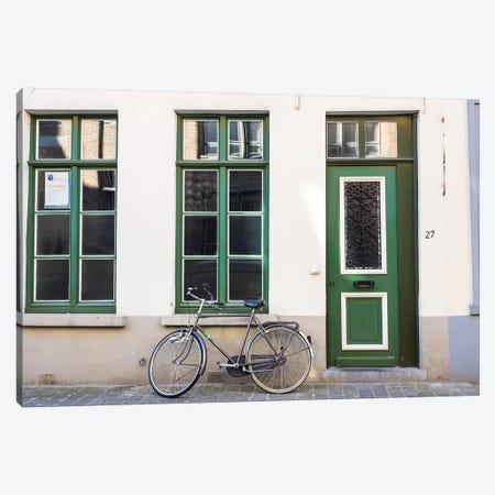 Belgium, Brugge. A bike against a brick wall in Bruges 3-Piece Canvas #TEG38} by Terry Eggers Canvas Print