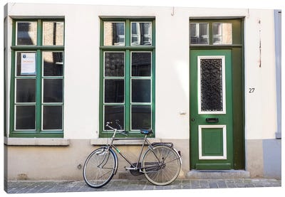 Belgium, Brugge. A bike against a brick wall in Bruges Canvas Art Print