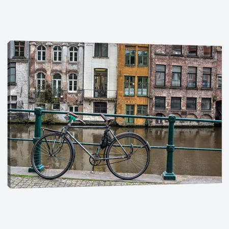 Bike along rail in the historic medieval city of Ghent 3-Piece Canvas #TEG39} by Terry Eggers Canvas Print