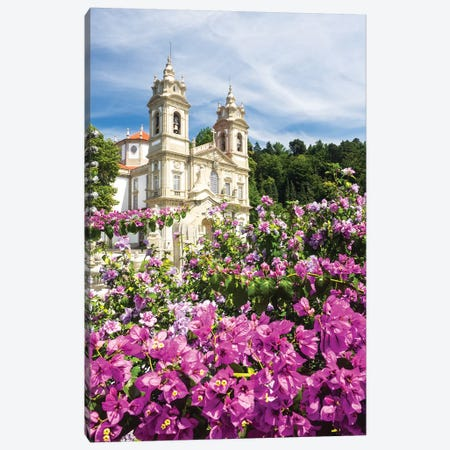 Bom Jesus do Monte complex with bright flowers Canvas Print #TEG41} by Terry Eggers Canvas Artwork