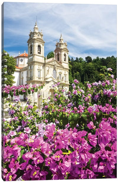 Bom Jesus do Monte complex with bright flowers Canvas Art Print