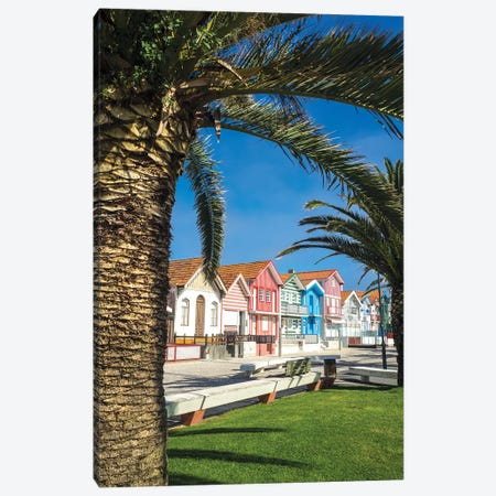Colorful houses in Palheiros, Costa Nova Canvas Print #TEG42} by Terry Eggers Canvas Art