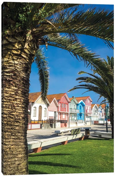 Colorful houses in Palheiros, Costa Nova Canvas Art Print