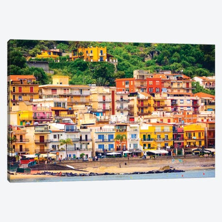 Italy, Sicily, Taormina. Beach Giardini Naxos Canvas Print #TEG44} by Terry Eggers Canvas Art Print