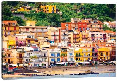 Italy, Sicily, Taormina. Beach Giardini Naxos Canvas Art Print