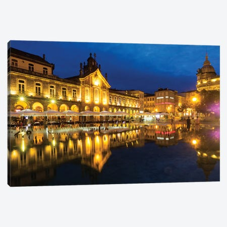 Portugal, Braga. Sunset along the sidewalk of cafe and town square at dusk, Praca da Republica Canvas Print #TEG48} by Terry Eggers Canvas Art