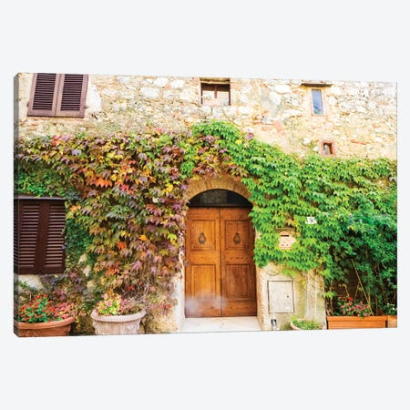 Typical house in Tuscan medieval village of Monteriggioni Canvas Print #TEG50} by Terry Eggers Canvas Print