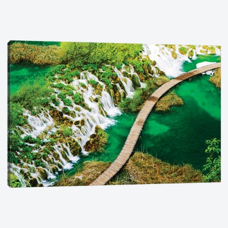 Boardwalk and Waterfalls in the Parco Nazionale dei laghi di Plitvice Canvas Print #TEG54} by Terry Eggers Canvas Art