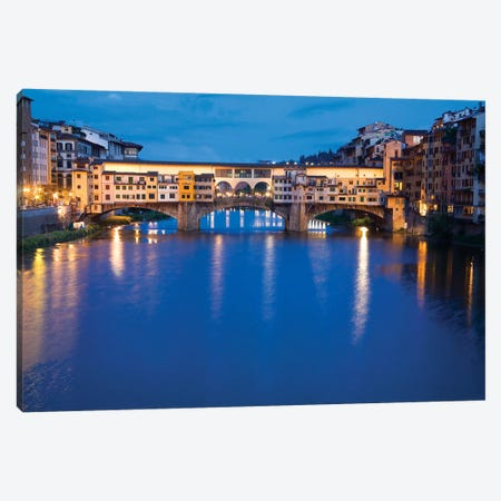 Ponte Vecchio At Night, Florence, Tuscany Region, Italy Canvas Print #TEG5} by Terry Eggers Canvas Artwork