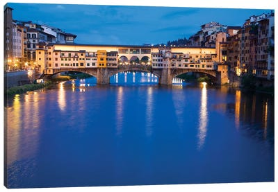 Ponte Vecchio At Night, Florence, Tuscany Region, Italy Canvas Art Print