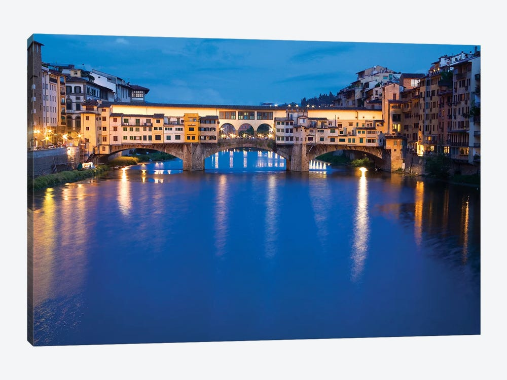 Ponte Vecchio At Night, Florence, Tuscany Region, Italy 1-piece Canvas Print