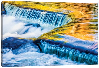 Michigan. Ottawa NF, smooth water reflecting fall foliage, Middle Branch of Ontonagon River Canvas Art Print