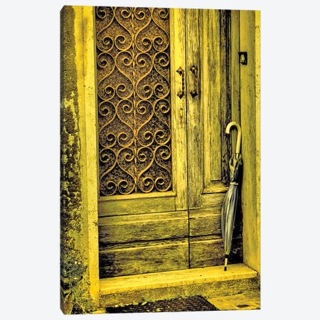 Italy, Chiusure. Infrared image of old door in typical buildings in the village. Canvas Print #TEG73} by Terry Eggers Canvas Art Print
