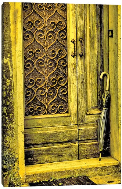Italy, Chiusure. Infrared image of old door in typical buildings in the village. Canvas Art Print