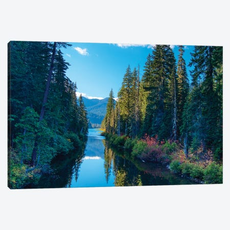 USA, Washington State. Cooper Lake in Central Washington. Cascade Mountains reflecting in calm waters. Canvas Print #TEG75} by Terry Eggers Canvas Artwork