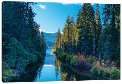 USA, Washington State. Cooper Lake in Central Washington. Cascade Mountains reflecting in calm waters. Canvas Art Print