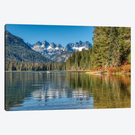 USA, Washington State. Cooper Lake in Central Washington, Cascade Mountains reflecting in calm waters. Canvas Print #TEG76} by Terry Eggers Canvas Artwork
