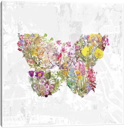 Butterfly Of Flowers Canvas Art Print
