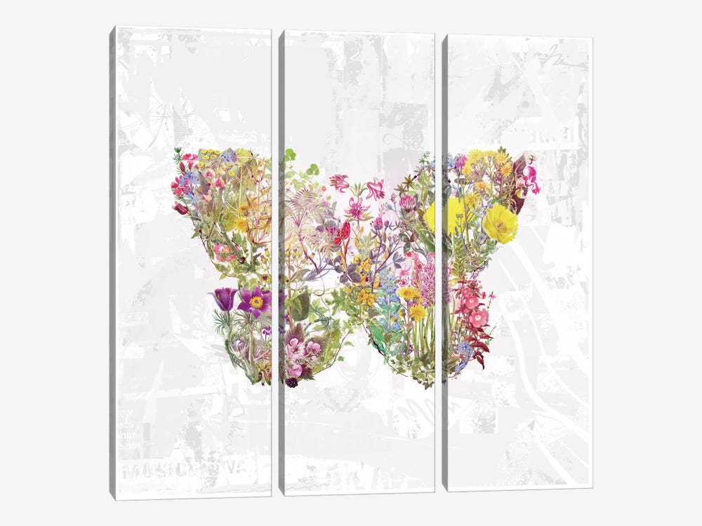 Butterfly Of Flowers by Teis Albers 3-piece Canvas Art Print