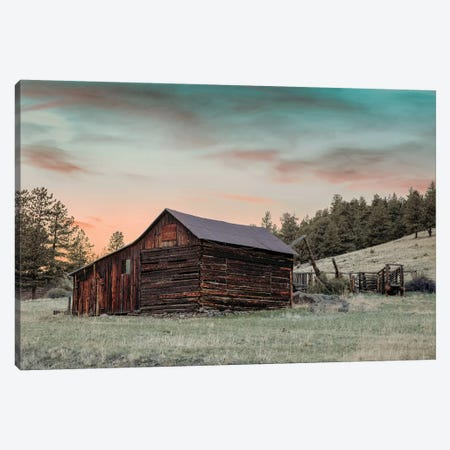 Colorado Barn And Pens At Sunset Canvas Print #TEJ31} by Teri James Canvas Artwork