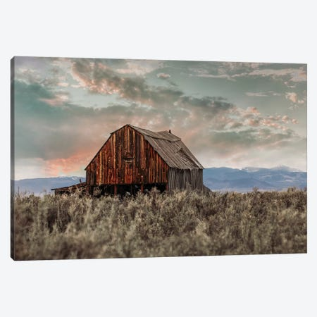 Colorado Barn At Sunset Canvas Print #TEJ32} by Teri James Canvas Wall Art