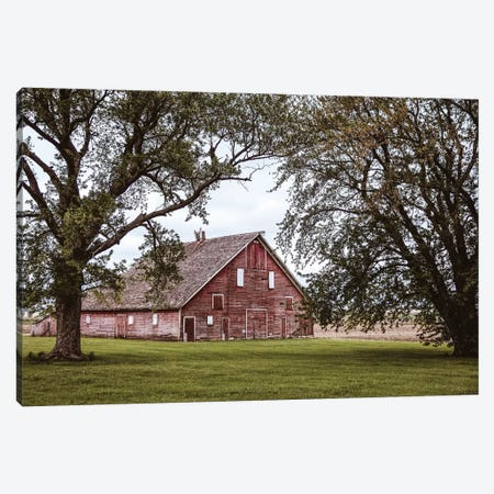 Red Barn And Trees Canvas Print #TEJ64} by Teri James Canvas Artwork