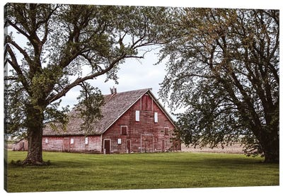 Red Barn And Trees Canvas Art Print