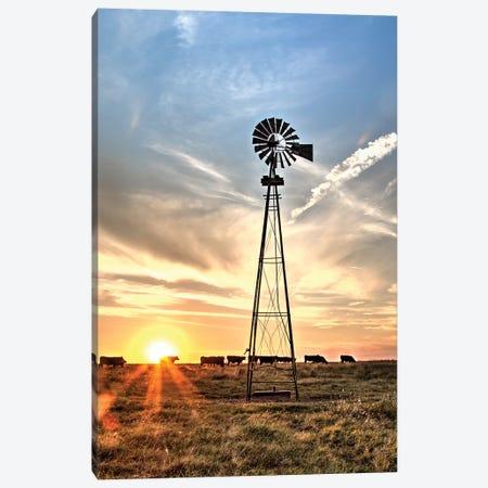 Windmill And Sunburst Big Pasture Canvas Print #TEJ81} by Teri James Art Print