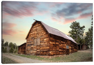 Wood Barn At Sunset Canvas Art Print