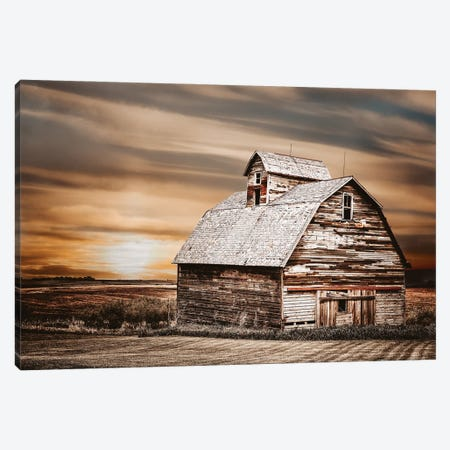 White Barn At Sunset Canvas Print #TEJ91} by Teri James Canvas Artwork