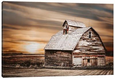 White Barn At Sunset Canvas Art Print