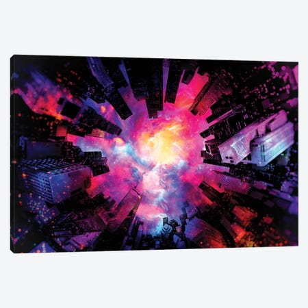 Artistic XIII - Colorful Nebula City Canvas Print #TEM26} by Tenyo Marchev Canvas Art Print