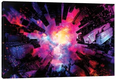 Artistic XIII - Colorful Nebula City Canvas Art Print