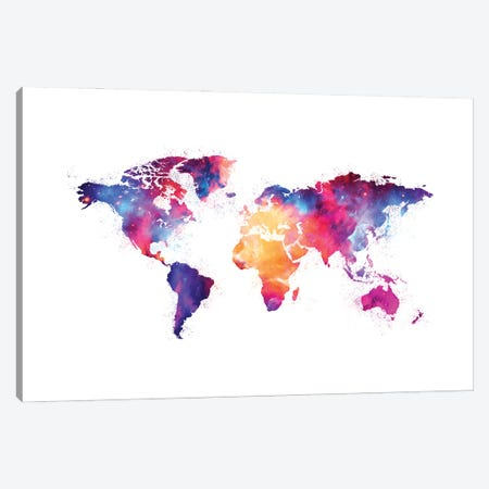 Artistic XIV - Colorful Nebula World Map Canvas Print #TEM27} by Tenyo Marchev Canvas Print