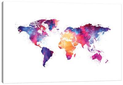 Artistic XIV - Colorful Nebula World Map Canvas Art Print
