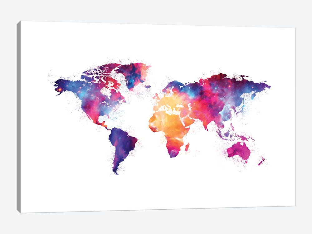 Artistic XIV - Colorful Nebula World Map by Tenyo Marchev 1-piece Canvas Artwork