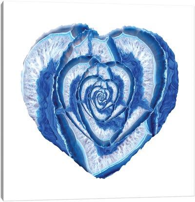 Blue Agate Geode Heart Canvas Art Print