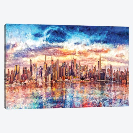 Digital Art V - Starry CityScape Canvas Print #TEM44} by Tenyo Marchev Canvas Print
