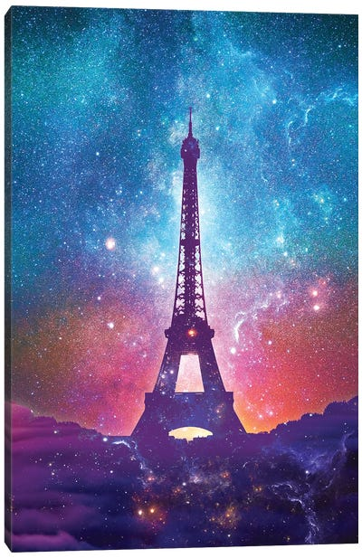 Eiffel Tower - Milky Way Collage Canvas Art Print