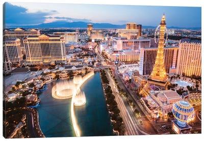 The Fountains Of Bellagio And The Strip, Las Vegas, Nevada, USA Canvas Print #TEO100